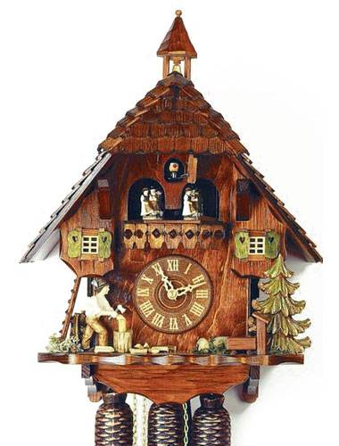 Cuckoo clock with a Forest scene and Woodchopper