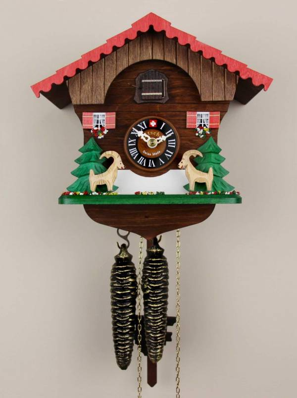 Cuckoo clock with leaping Ibex