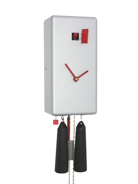 Simple line Cuboid, silver Cuckoo clock