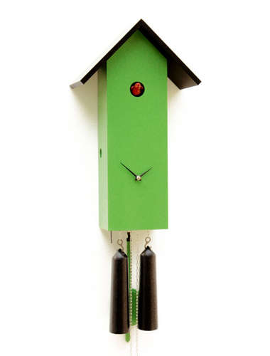 Simple line birdhouse, green Cuckoo clock