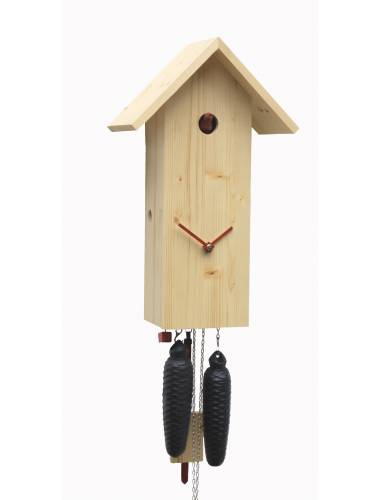 Simple line birdhouse style Cuckoo clock, natural finish