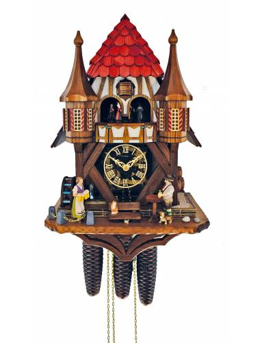Twin Turreted Cuckoo clock with beer drinker