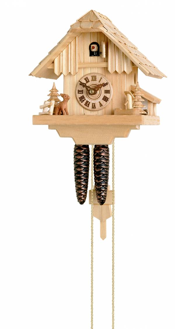 Deer and Fir trees Cuckoo clock in a natural finish