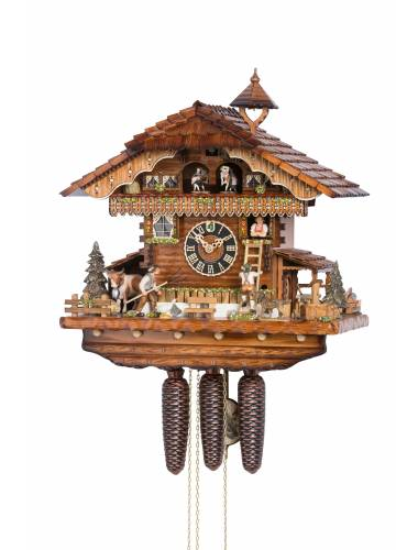 Cuckoo clock with Lover chased up ladder