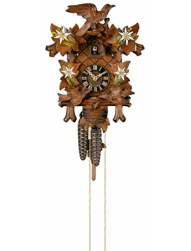 Cuckoo clock with painted flowers