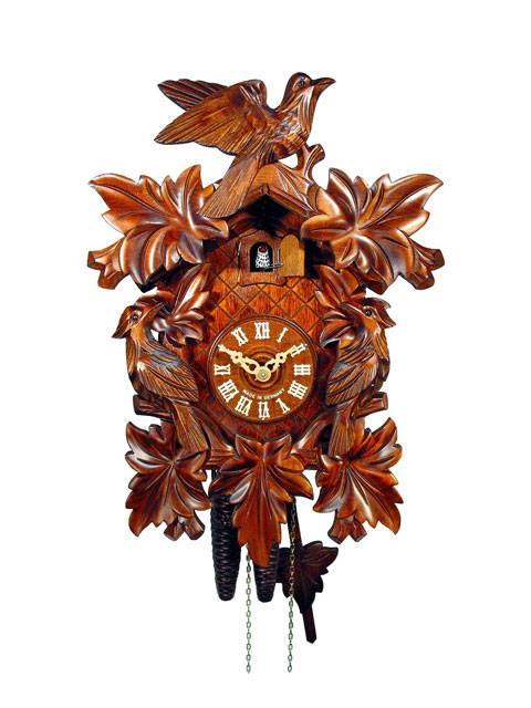 Cuckoo clock with detailed carving
