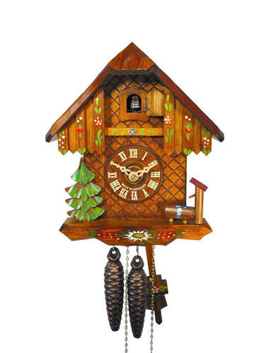 Chalet style Cuckoo clock with hand painted flowers