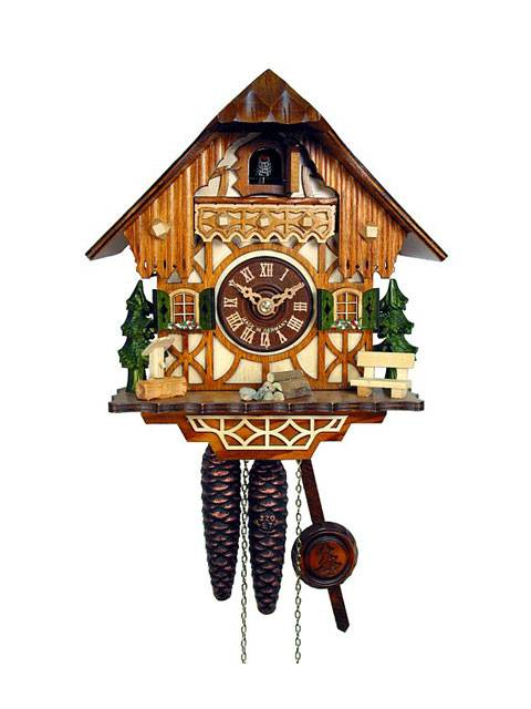 Cuckoo clock with cottage scene