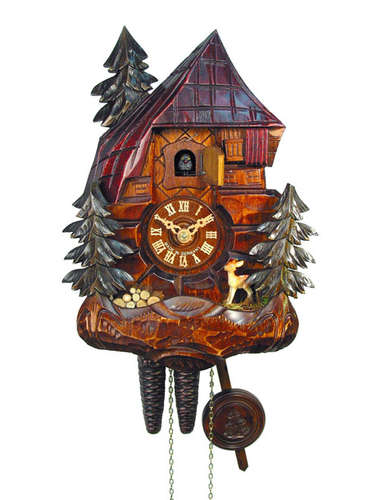 Elaborate carved wood cabin Cuckoo clock