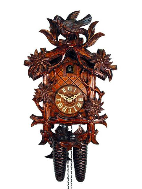 Cuckoo clock with Edelweiss flowers and bird