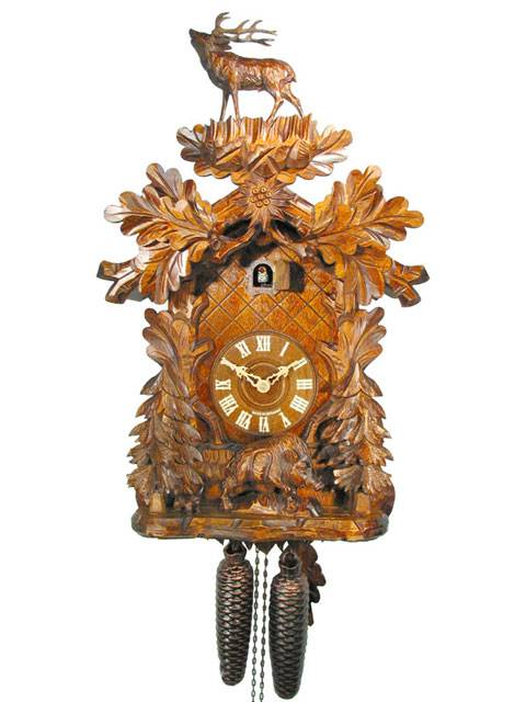 Cuckoo clock with carved Stag and Boar