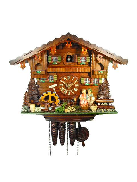 Kissing couple, chalet style Cuckoo clock