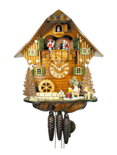Cuckoo clock with beer drinker and St Bernard