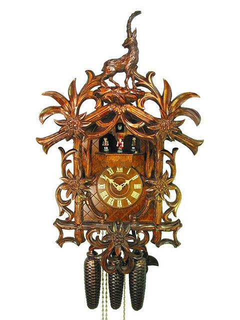 Cuckoo clock with hand carved Ibex