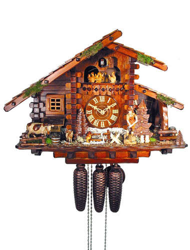 Block house Cuckoo clock with woodchopper