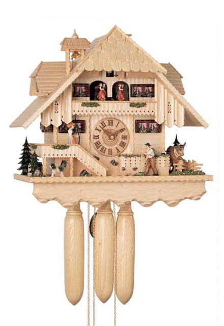 Cuckoo clock with moving Cow natural finish