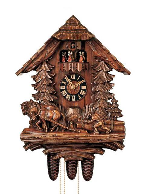 Heavily carved Cuckoo clock with Horse and Plough