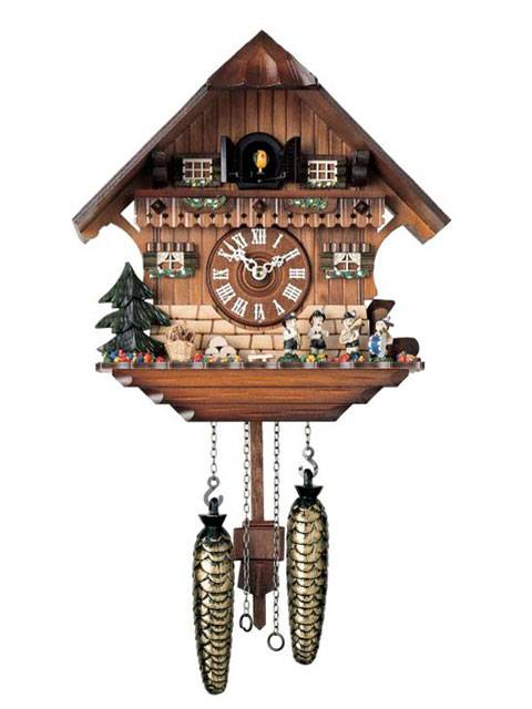Chalet style Cuckoo clock with Hand painted figurines