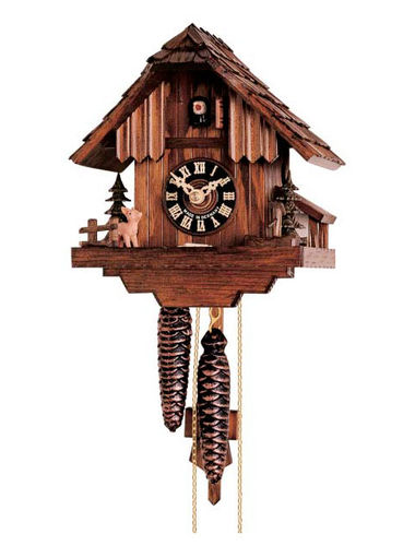 Cuckoo clock depicting a Deer and Fir trees