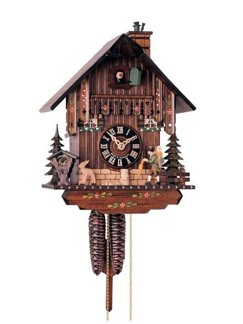 Cuckoo clock with a moving Peddler and sweep