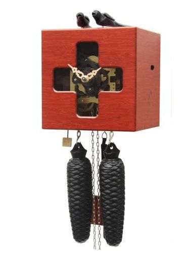 Free as a bird with window, red Cuckoo clock