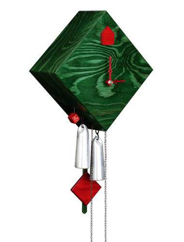 Square diamond, green Cuckoo clock