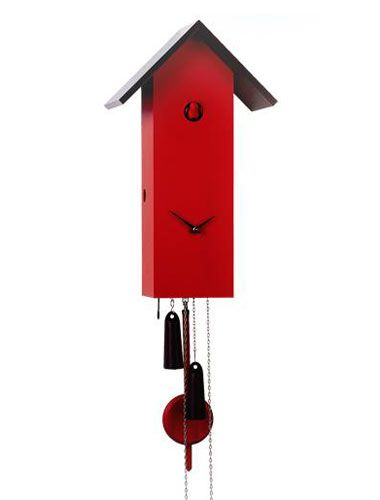 Simple line birdhouse, red Cuckoo clock