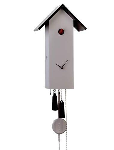 Simple line birdhouse, grey Cuckoo clock