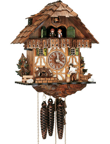Chalet house cuckoo clock with Woodchopper
