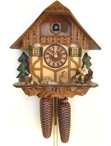 Chalet House Cuckoo clock with Beer drinker