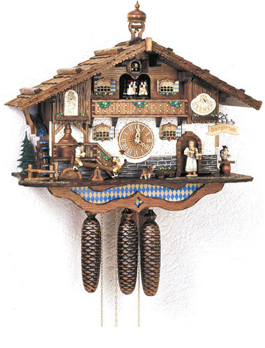 Cuckoo clock featuring Bavarian Beer drinkers on See-Saw