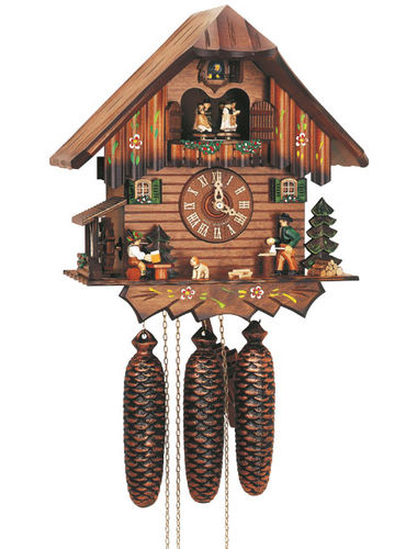 Cuckoo clock with Wood chopper and Beer drinker
