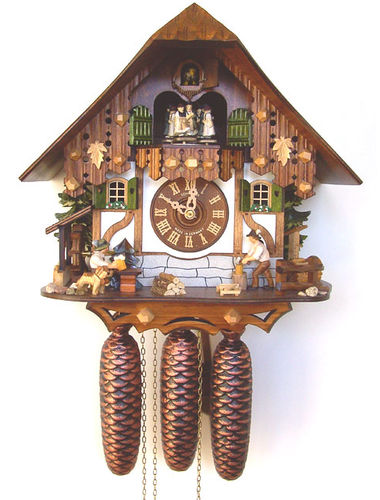 Cuckoo clock with Woodchopper and Beer drinker