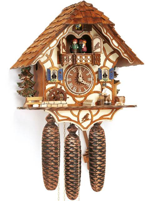 Cuckoo clock with moving Wood chopper