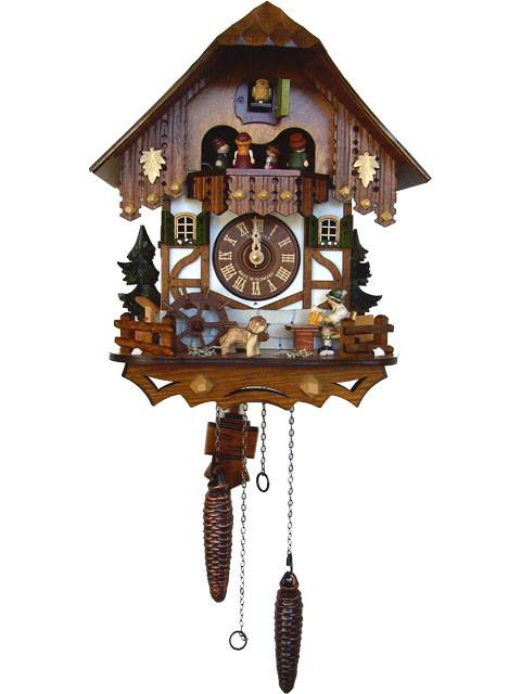 Quartz Cuckoo clock with Beer drinker and water wheel