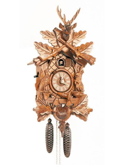 Carved Cuckoo clock in a Honey finish