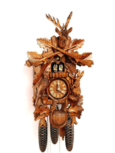 Hunter style Cuckoo clock in a Honey finish