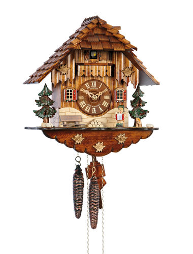 Medium chalet clock with Musician