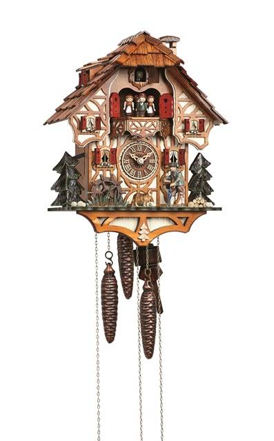Cuckoo clock with moving wanderer and water wheel