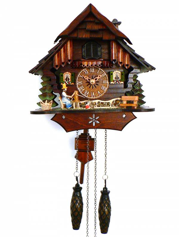Quartz Cuckoo clock with Farmers wife weaving