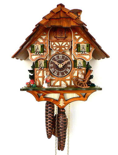 Cuckoo clock with a child caring for her Goose and Cat