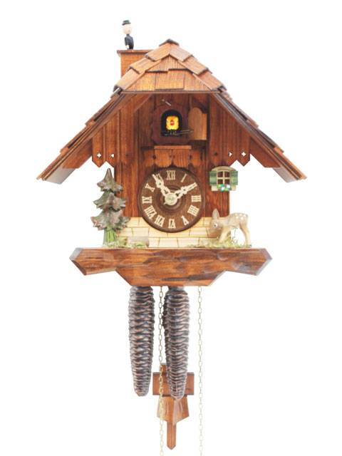 Cuckoo clock with chimney sweep