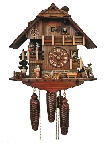Cuckoo clock with Beer drinker land lady and suitor with flower bouquet