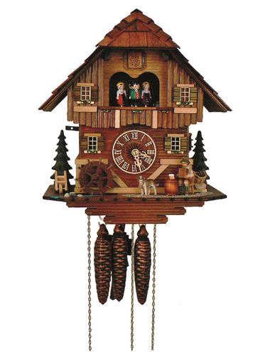Cuckoo clock with musician playing the accordion.