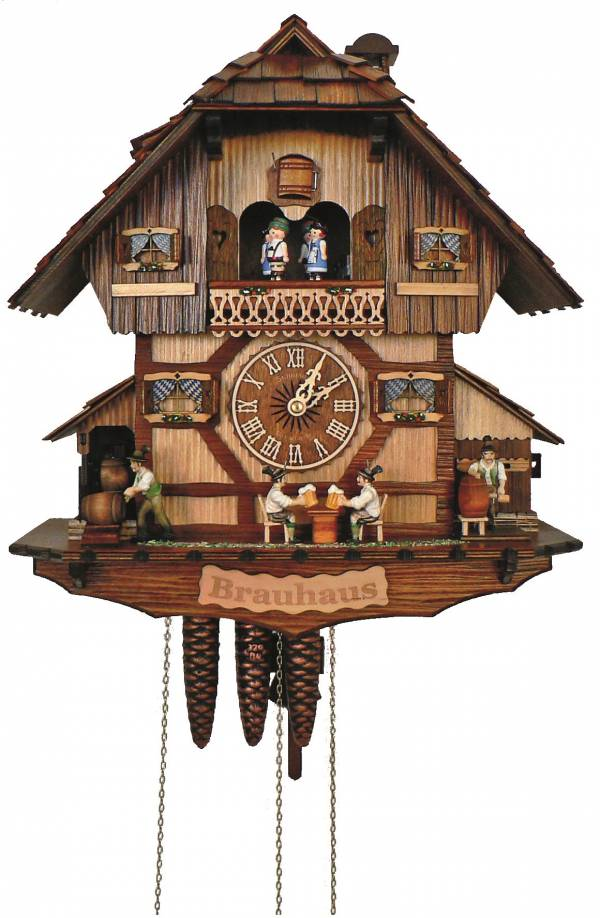 Cuckoo clock with Beer drinkers in the 'Brauhaus'.