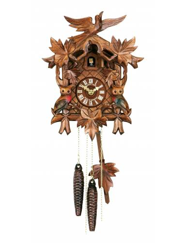 Cuckoo clock with carved Owls