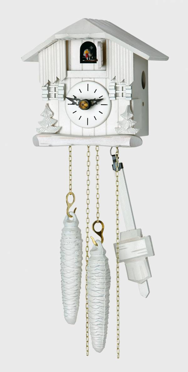 Small white chalet Cuckoo clock