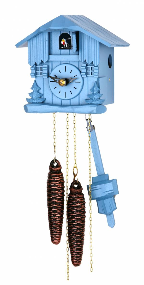 Small blue chalet clock