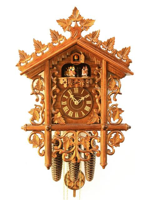 A Cuckoo clock with fine and intricate carving