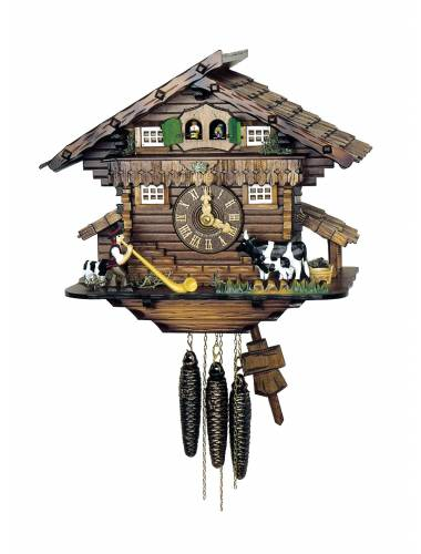 Double door musical clock with Alpine horn
